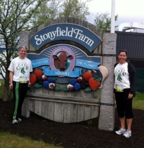 Pre-5K, getting water near the Stonyfield Farm sign!